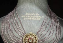 layered pearl necklace with kundan pendant