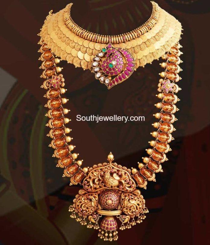 layerede kasu necklace and ganesh haram