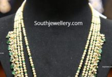 pearl and emerald beads haram with polki pendant