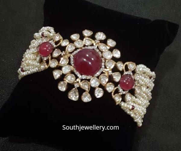 pearl bracelet with kundan pendant
