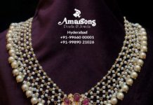 pearl necklace with polki ruby pendant