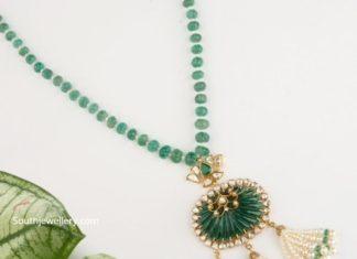 pumpkin emerald beads necklace (1)