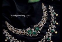 simple diamond emerald necklaces ratna garba
