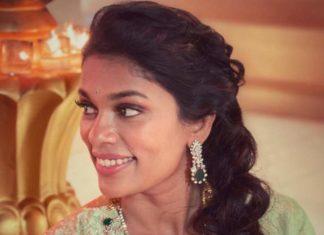 sreeja konidela in diamond emerald necklace set