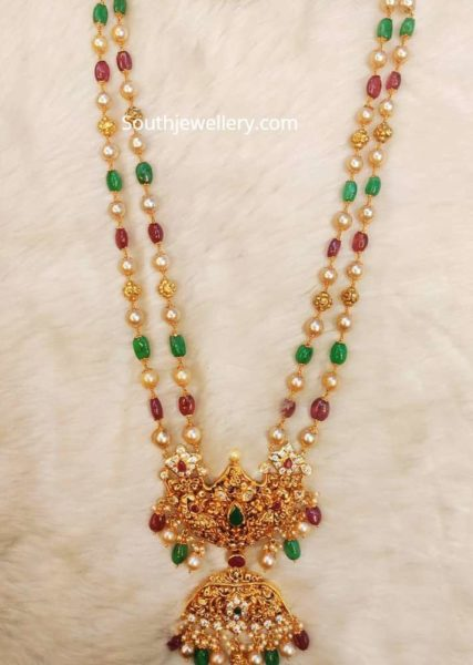 two line beads necklace with gold pendant