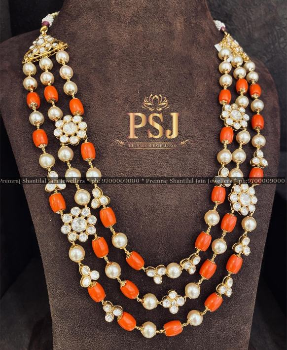 coral beads and pearls mala