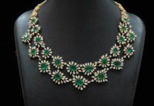 diamond and emerald necklace set manjula jewels