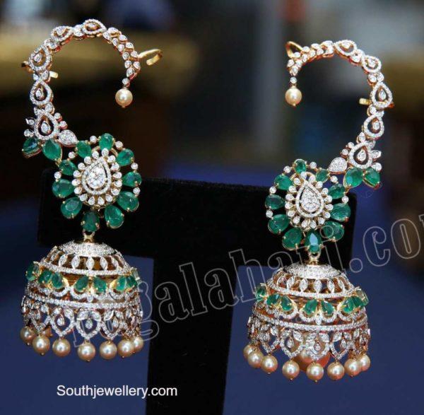 diamond emerald jhumkas (1)