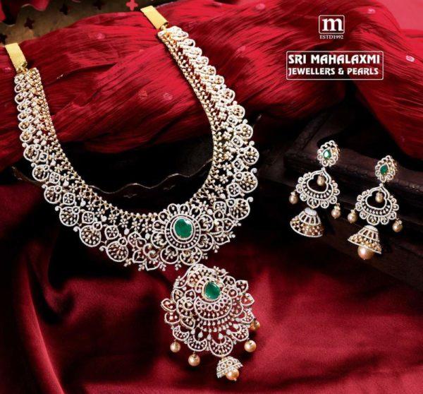 diamond haram and jhumkas