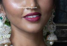 diamond necklace and jhumkas (1)