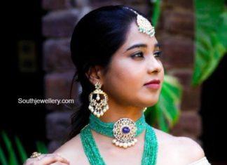 emerald beads choker and haram (1)