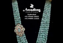 emerald beads long necklace
