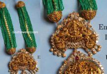 emerald beads multi strand necklace with nakshi pendant