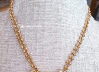 gold balls necklace with cz pendant jagadamba