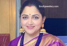 khushbu sundar blue beads necklace and jhumkas
