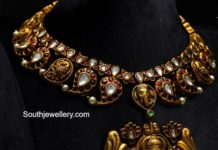 kundan mango necklace with lakshmi pendant