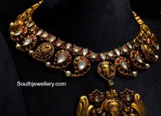 kundan mango necklace with lakshmi pendant