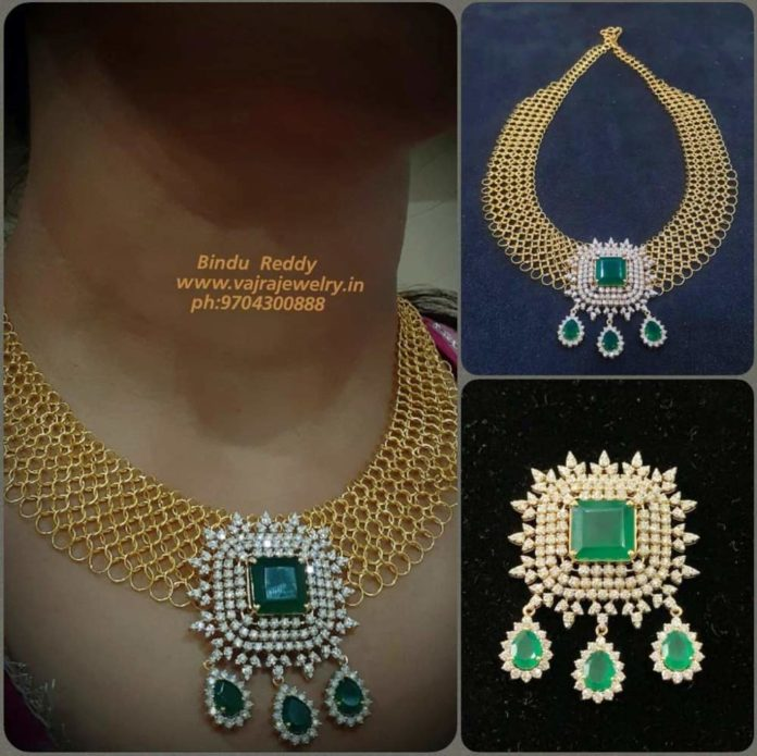 mesh gold necklace with diamond pendant