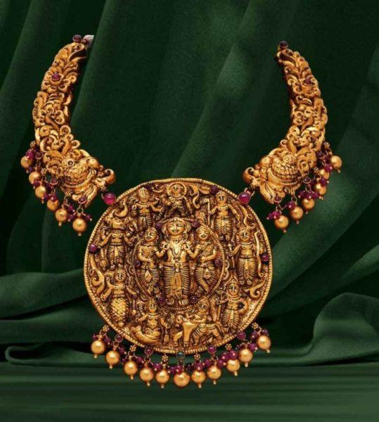 nakshi gold necklace with ram parivar pendant