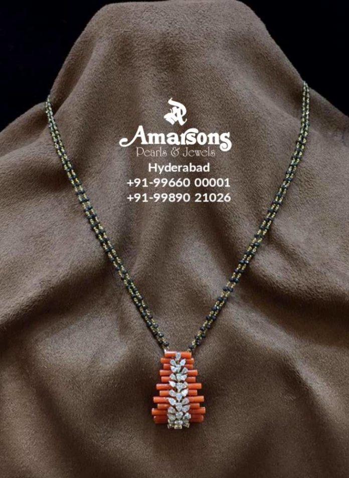 nallapusalu necklace with coral pendant