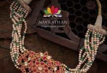 pearl and emerald beads necklace with kundan pendant