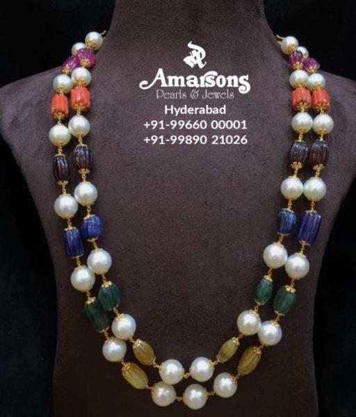pearl and navrathan beads mala