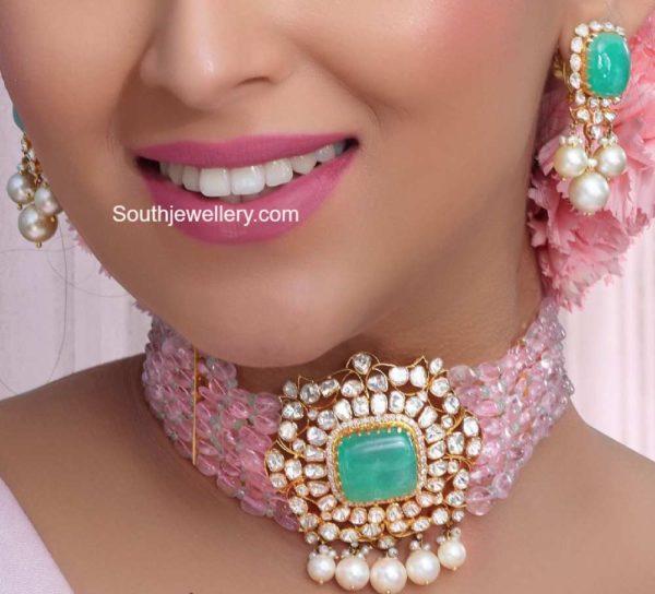pink beads choker