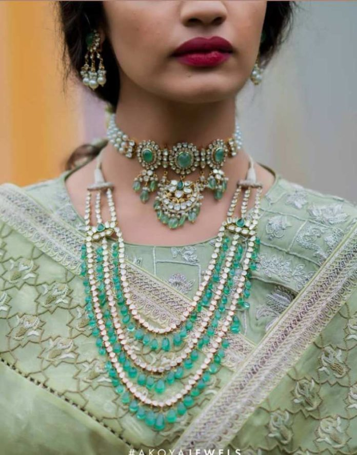 Gold Necklace Designs with Green Stones