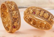 antique gold lakshmi broad bangles