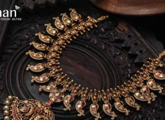 antique gold mango necklace with diamonds