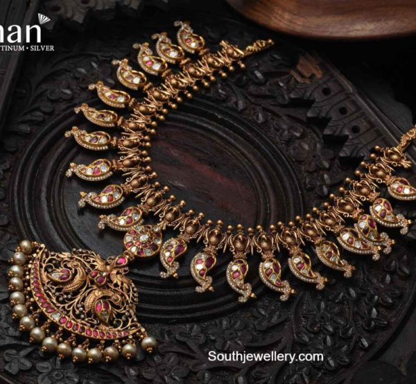 antique gold mango necklace with diamonds