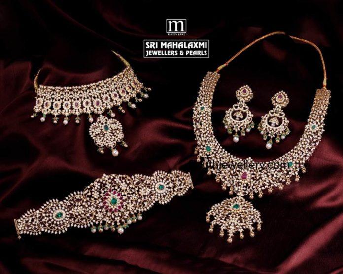 closed setting diamond necklace and vaddanam set