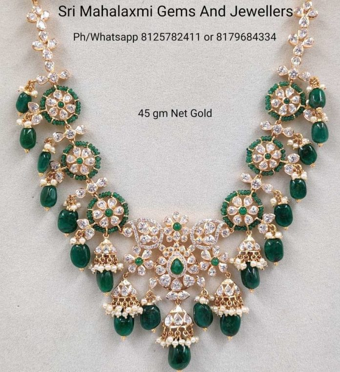cz stones and emerald beads necklace