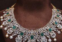 diamodn and emerald necklace