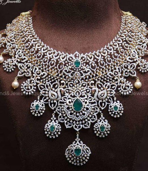 diamond and emerald choker