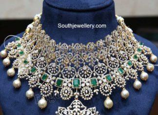 diamond and emerald choker ganesh jewellers