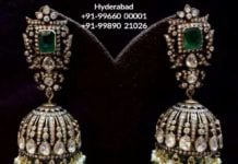 diamond and polki jhumkis