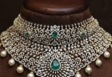 diamond emerald choker latest designs