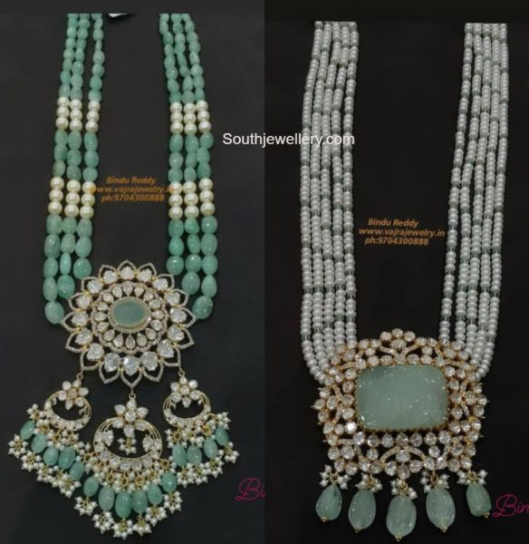 emerald beads and pearl necklaces with polki pendants