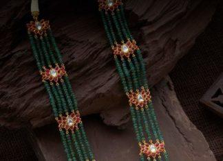 emerald beads haram with kundan pendant (1)