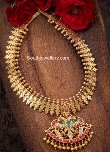 gold haram with kundan pendant (1)