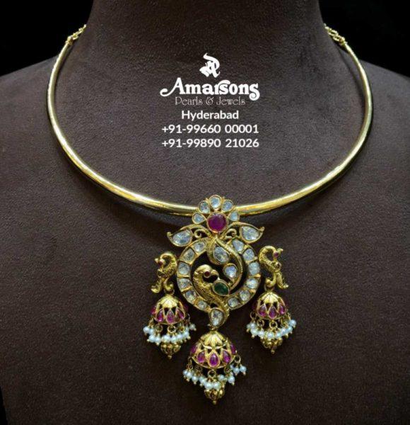 kante necklace with polki pendant