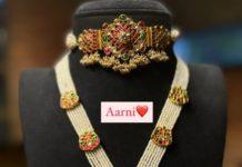 kundan choker and pearl haram with kundan pendant