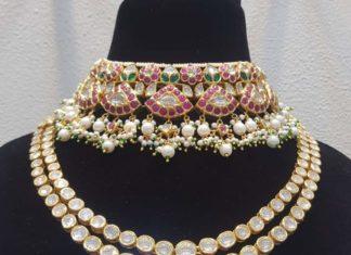 kundan choker and polki necklace