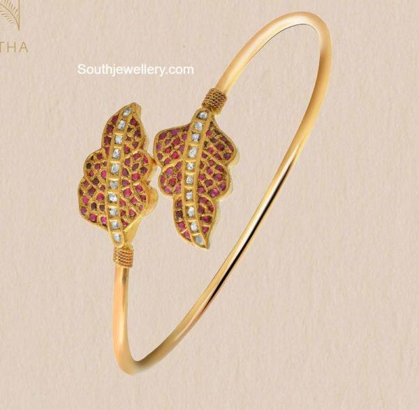 leaf design kundan bracelet