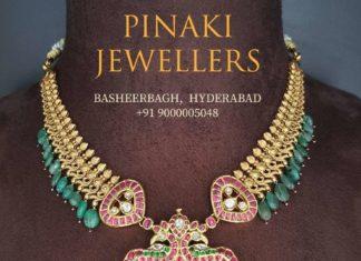light weight antique gold nakshi necklace