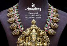 mango necklace with ganesh pendant