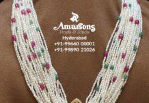 multi strand pearl haram with polki pendant