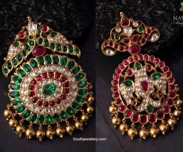 peacock kundan pendants