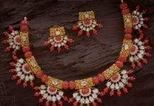 polki and coral necklace set